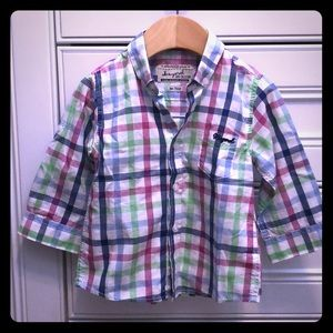 Mayoral Baby Boy checkered button down shirt 9M